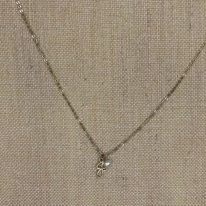 """Jewelry - Initial """"J"""" and pearl Gold Necklace 9"""" drop"""